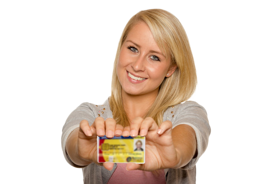 young woman drivers licence